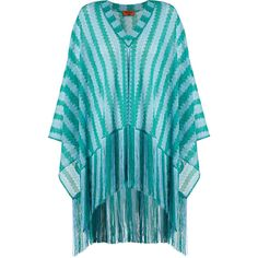 Missoni Mare Striped oversized fringed fine-knit poncho ($676) ❤ liked on Polyvore featuring outerwear, green multi, striped poncho, fringe poncho, green poncho, green slip and style poncho