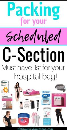 C-section hospital bag! Are you having a scheduled c-section? Here is everything you need to pack in your hospital bag for your scheduled c-section! These hospital bag must haves are essential for a smooth cesarean recovery!  You'll be so happy you packed them! #csection #hospitalbag #baby #pregnancy #maternity #cesarean