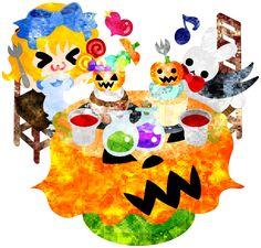 フリーのイラスト素材ハロウィンとジャックオランタンとお菓子を食べる少女とうさぎ  Free Illustration Halloween and jack-o-lanterns and a girl and a rabbit eating sweets   http://ift.tt/2cZKo02