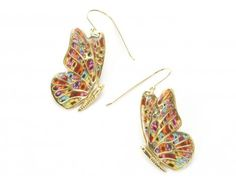 Millefiori Butterfly earrings  by Adina Plastelina, The designs are inspired by the Art Nouveau style, with elements and imagery drawn from the world of botany and zoology. The colorful Millefiori patterns are designed after gemstones, crystals, plants, and a multitude of wonderful textures from nature.