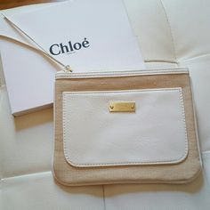 OFFERS ACCEPTED! Brand new with box Chloe parfum make up pouch or can be used as clutch. Super cute beige and white combination. White leather zipper tassels. Protective cover still on Chloe plate. Chloe Bags Cosmetic Bags & Cases