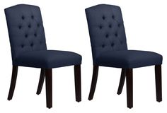 Lea Navy Linen Tufted Side Chairs, Pair
