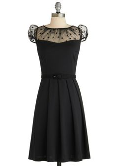 I need this dress. It's a must buy! The Missing Ink Dress by Eva Franco - Mid-length, Black, Solid, Pleats, Party, A-line, Cap Sleeves, Fall, Belted, Film Noir, Vintage Inspired