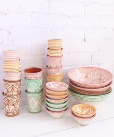 Pastel Moroccan ceramics - From Baba Souk Moroccan Design, Moroccan Decor, Interior Inspiration, Room Inspiration, Boutique Decor, Small House Decorating, Barbie Dream House, Zen Art, Decorative Objects