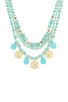 Turquoise Three-Layer Bead & Cutout Coin Necklace by Sparkling Sage on @HauteLook