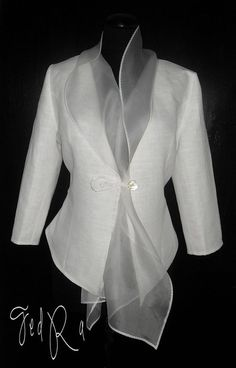 White linen jacket with silk organza collar- vma.: