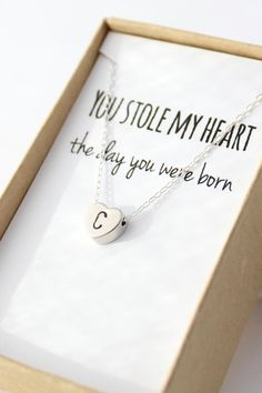 Silver Initial Heart Necklace  Tiny Heart by powderandjade on Etsy, $28.00