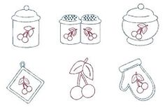 Vintage Kitchen Cherry Redwork Set - 5x7   Featured Products   Machine Embroidery Designs   SWAKembroidery.com