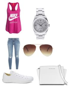 """Nike and convers lowe"" by senny-89 ❤ liked on Polyvore featuring NIKE, Frame Denim, Converse, Rolex, Forever 21 and Michael Kors"