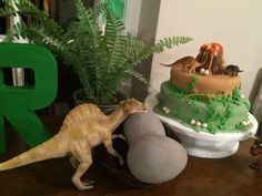 Awesome cake at a dinosaur birthday party! See more party planning ideas at CatchMyParty.com!