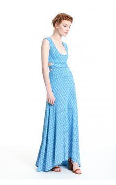 cc995def9718 Cut-out Maxi - This fit and flare jersey maxi dress has a scoop neckline  and a slight high-low hemline featuring a back cut-out detail.
