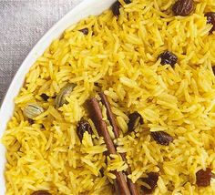 Yellow rice, works well with most Indian recipes, slightly sweet and mild.