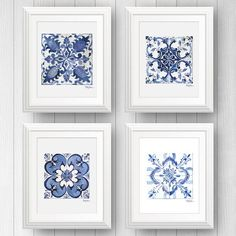 4 Azulejo Portuguese Tile Art Prints is part of the collection of beautiful blue and white tile art prints from Shelby Dillon Studios. Perfect for beach house style. For all your colorful home style needs and colorful decorating ideas shop ShelbyDillonStudios.com.