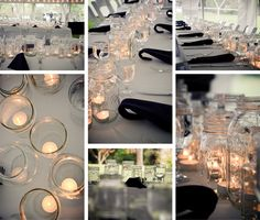 Centerpieces made from collected and recycled jars. very charming