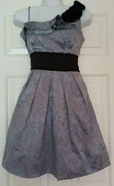 Speechless Gray Black Damask One Shoulder Formal Dress Sz. 3 #Speechless #OneShoulder #Formal