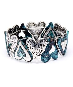 Look what I found on #zulily! Teal & Silver Patina Heart Stretch Bracelet by Mica #zulilyfinds