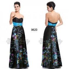 Luxusní saténové černé společenské šaty Ever Pretty s květy 9620 Šaty Pro  Nevěsty e27e635bfb