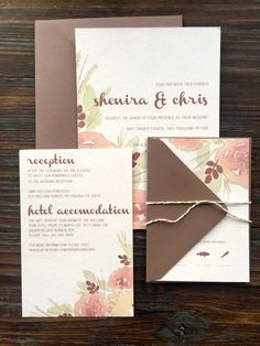 Wedding Invitation - Fall Watercolor Floral Wedding Invitations