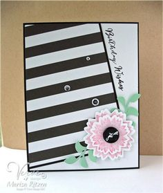 handmade card ... black and white with a pop of pale pink ... tilted off-the-corner main panel of bold black and white stripes ... layered pink flowr with button center ... like the dynamic look of this card ... Verve