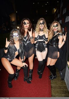 Rocking the party! Little Mix hit Kiss FM's Haunted House Party at Wembley Arena in London dressed, appropriately enough, as iconic rock band Kiss