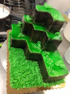 Mine craft stacked cake
