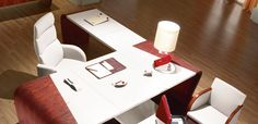 Leather office desk Minos by Codutti, design Paolo Galeotti