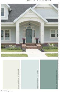 Exterior Paint Color Combinations, House Paint Color Combination, Exterior Paint Colors For House, Paint Colors For Home, Stucco House Colors, Cottage Paint Colors, Farmhouse Exterior Colors, House Exterior Color Schemes, Exterior Color Palette