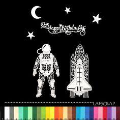 lot découpes astronaute fusée happy birthday étoile lune espace garçon planète scrapbooking embellissement album scrap : Embellissements par lafscrap