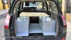 [Renault Grand Scenic] Camper edition Car Camper, Camper Van, Scenic Renault, Truck Storage, Travel Box, Van Camping, Vans, Diy, Rv Living