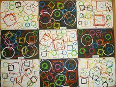 Formes géométriques – ☺Arts visuels en maternelle☺ Plus Kindergarten Art Lessons, Kindergarten Art Projects, Line Art Lesson, Shape Art, Collaborative Art, Arts And Crafts Projects, Art Club, Art Plastique, Geometric Art