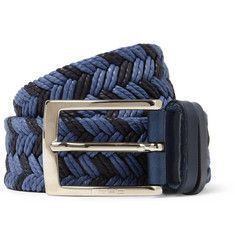 Etro Leather-Trimmed Woven Belt