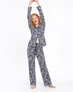 fdc8f71d51 Astrid French Navy Ria Ditsy Jersey Pyjama Set