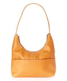 Another great find on #zulily! Tan Front-Zip Leather Hobo by Le Donne #zulilyfinds