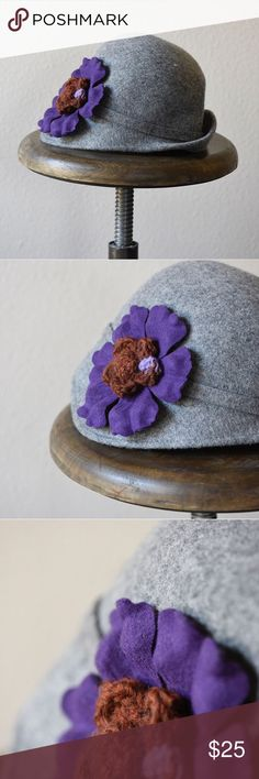 Anthropologie wool hat with flower accent Beautiful Madison 88 wool hat for Anthropologie. Large crochet and wool purple flower detail. One size. 100% wool. Anthropologie Accessories Hats