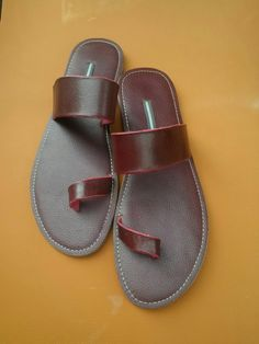 Handmad leather male slippers