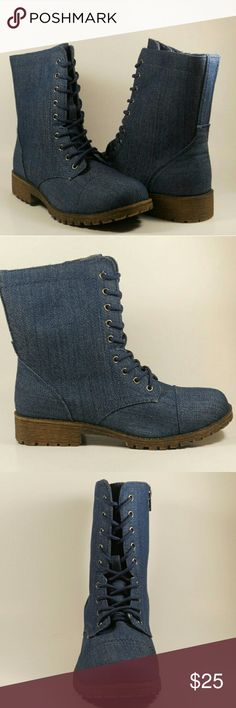 Boots Blue denim booties. Lace up. Side zipper closure. ALL PHOTOGRAPHS ARE MINE, SHOT BY ME. 📷 Shoes Ankle Boots & Booties