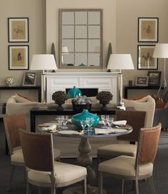 The perfect way to do a dining area in a long living room