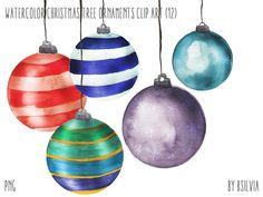 Watercolor Christmas Tree Ornaments, Watercolor Christmas Tree Bulbs Clip Art, Watercolor Christmas Tree Ornaments PNG files #scrapbook #png #clip art #scrapbooking #christmas