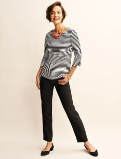df02f667a8c0b6 A striped bateau neck top gets a fun fashion update. Finished with buttons  lining the