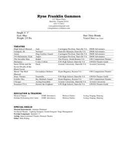 Child Actor Resume Format  Sample  Musical Theatre
