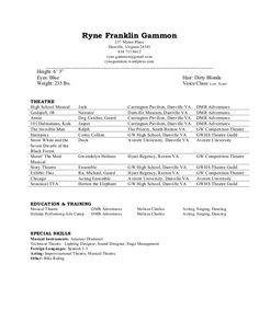 Child Actor Resume Format  Sample  Musical Theatre