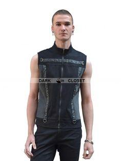 Pentagramme Black Sleeveless Gothic Punk Shirt for Men