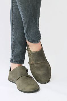 Monk Double Strap in distressed Olive - Leather Women's Shoes