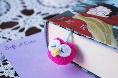 Bright Fuchsia Pink and aqua baby amigurumi OWL di SoftCute