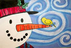 Cute Van Gogh inspired snowman! I made these with my grade 2's - Awesome :)