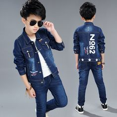 Cheap set kids, Buy Quality boy clothing set autumn directly from China boy clothing set Suppliers: New Children Boys Clothing Set Autumn Spring Cotton Long Sleeve Denim Jacket+Jeans Pants Kids Casual Outerwear Clothes Baby Girl Jeans, Girls Jeans, Boys Tracksuits, Cheap Boys Clothes, Toddler Suits, Boys Wear, Boys Shirts, Jacket Jeans, Jeans Pants