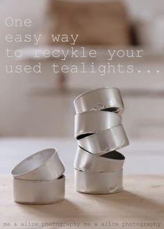 An easy way to recycle used tealight tins~ Easy DIY for Christmas/ different language, but u get the idea