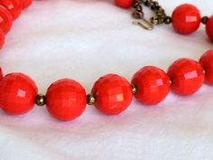 Red Lucite Checkerboard Beaded Collar Necklace by DejaVuVintiques