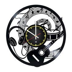 Music Vinyl Record Wall Clock - Gift idea for music fans Искусство С Часами, Музыкальная Стена, Часы, Поделки Из Виниловых Пластинок, Виниловые Пластинки, Изделия Из Пластинок, Лайфхаки