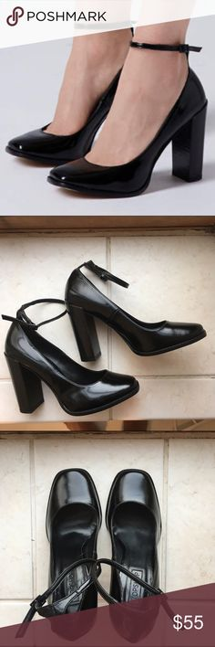 "Topshop Mary Janes Never worn!! Shiny inky black leather. Stacked heel with rounded toe. Ankle strap buckle. Heel height: 4"". Never worn (sole has small stains from shoe polish) see photos. Topshop Shoes Heels"